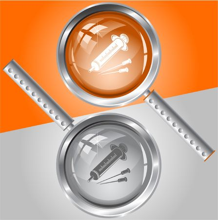 Syringe.  magnifying glass. Vector