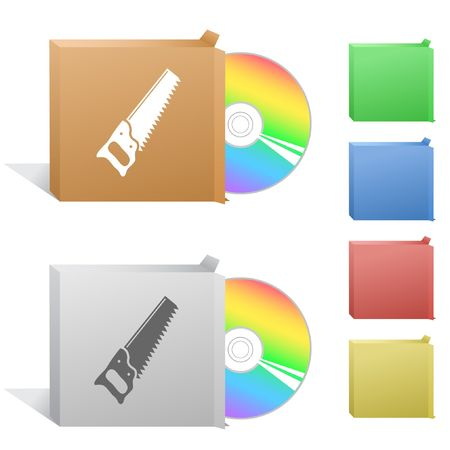 Hand saw. Box with compact disc. Stock Vector - 6732231
