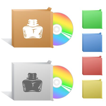 inkstand: Inkstand. Box with compact disc. Illustration