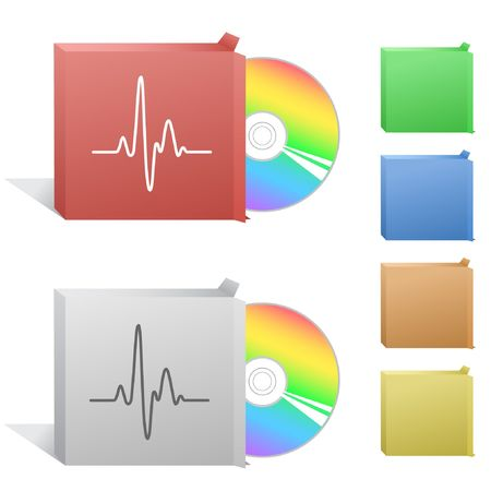 palpitation: Cardiogram. Box with compact disc. Illustration