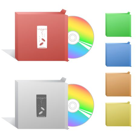 Glass with tablets. Box with compact disc. Vector
