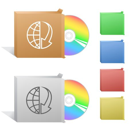 cdr: Globe and array down. Box with compact disc. Illustration