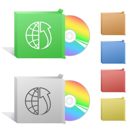 cdr: Globe and array up. Box with compact disc. Illustration