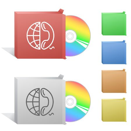 phone box: Globe and phone. Box with compact disc.