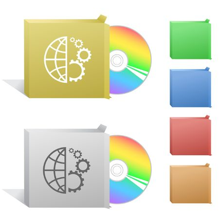 gear box: Globe and gear. Box with compact disc. Illustration