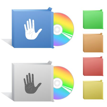 Stop hand. Box with compact disc. Stock Vector - 6732276