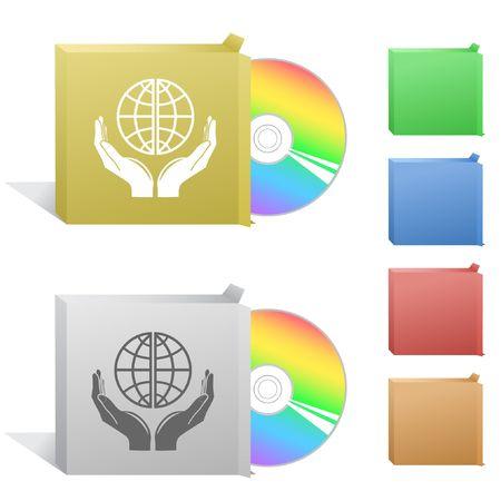 Protection world. Box with compact disc. Stock Vector - 6732280