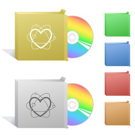Atomic heart. Box with compact disc. Stock Vector - 6732273