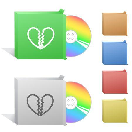 unrequited love: Amor no correspondido. Cuadro con disco compacto.  Vectores