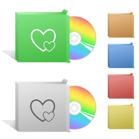 Careful heart. Box with compact disc. Vector