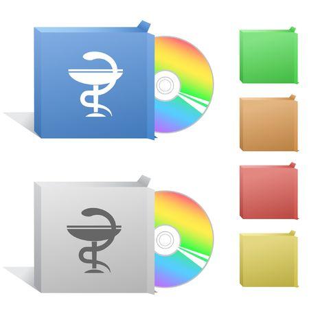 pharma: Pharma symbol. Box with compact disc. Illustration