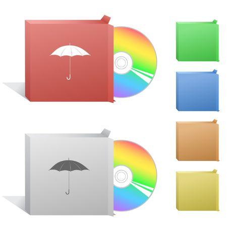 Umbrella. Box with compact disc. Stock Vector - 6732219