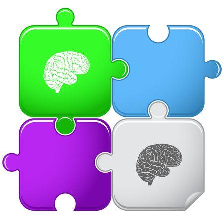 mental object: Cerebro. rompecabezas.  Vectores