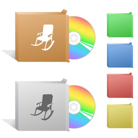 compact disc: Armchair. Box with compact disc.