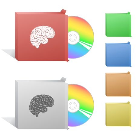 Brain. Box with compact disc. Vector