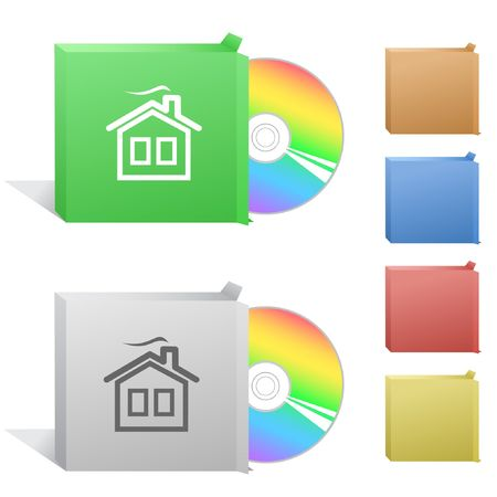 Home. Box with compact disc. Vector
