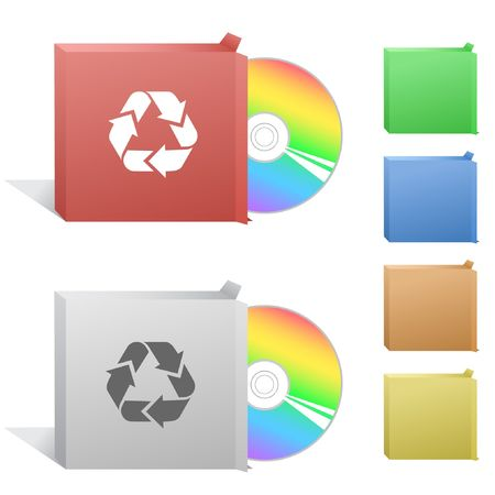 compact disc: Recycle symbol. Box with compact disc. Illustration