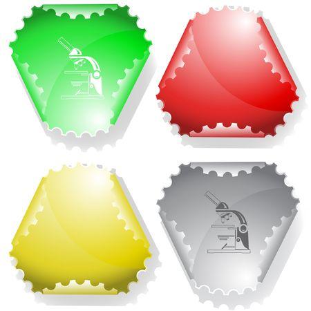Lab microscope. sticker. Stock Vector - 6732583