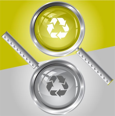 Recycle symbol. magnifying glass. Stock Vector - 6732285