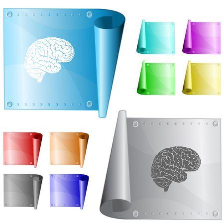 Brain. metal surface. Vector