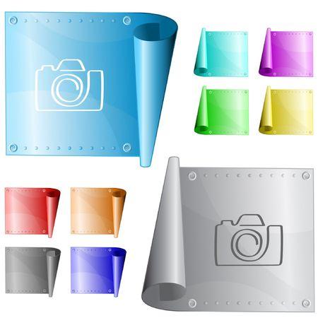 Camera.  metal surface. Stock Vector - 6731683