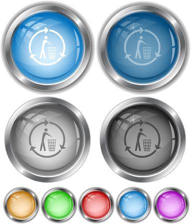 Recycling bin.  internet buttons. Stock Vector - 6770844