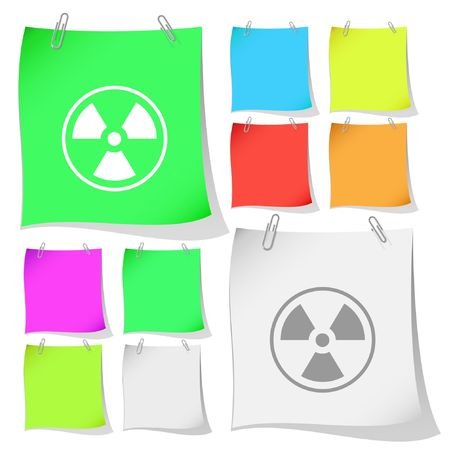 Radiation symbol. note papers. Stock Vector - 6770005