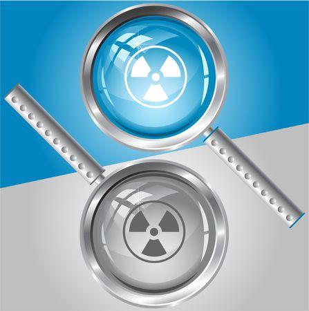 Radiation symbol. magnifying glass. Stock Vector - 6770761
