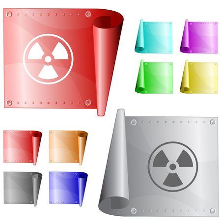 Radiation symbol. metal surface. Vector