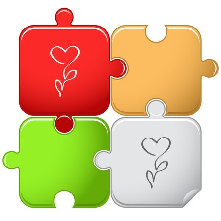 Flower-heart. puzzle. Vector
