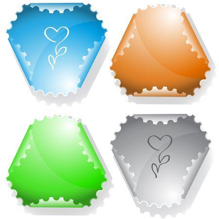 declinate: Flower-heart. sticker. Illustration