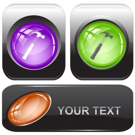 Hammer. internet buttons. Stock Vector - 6774727