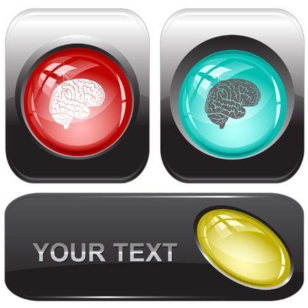 Brain. internet buttons. Vector