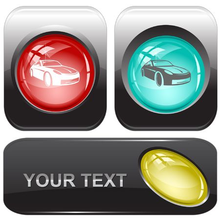 Car. internet buttons. Vector