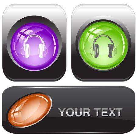 Headphones. internet buttons. Stock Vector - 6775545