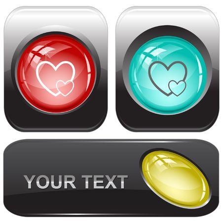 Careful heart.  internet buttons. Vector