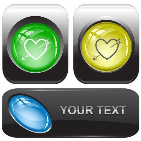 Heart and arrow. internet buttons. Stock Vector - 6775542