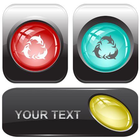 Killer whale. internet buttons. Stock Vector - 6775559