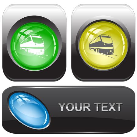 Train internet buttons. Stock Vector - 6776143