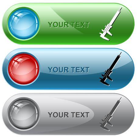 caliper: Caliper. internet buttons. Illustration