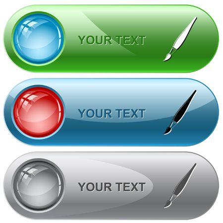 Brush.  internet buttons. Stock Vector - 6776345