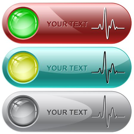 surveillance symbol: Cardiogram internet buttons. Illustration
