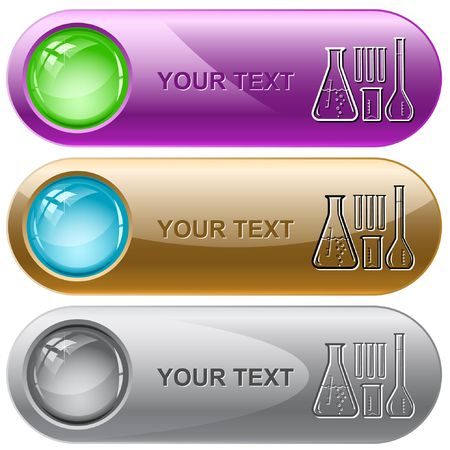 Chemical test tubes. internet buttons. Vector
