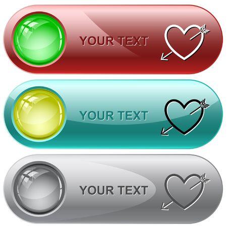 Heart and arrow.  internet buttons. Stock Vector - 6776342