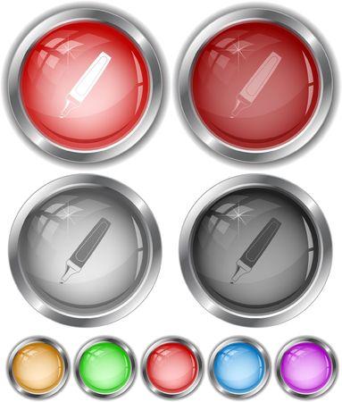 felt: Felt pen. internet buttons. Illustration
