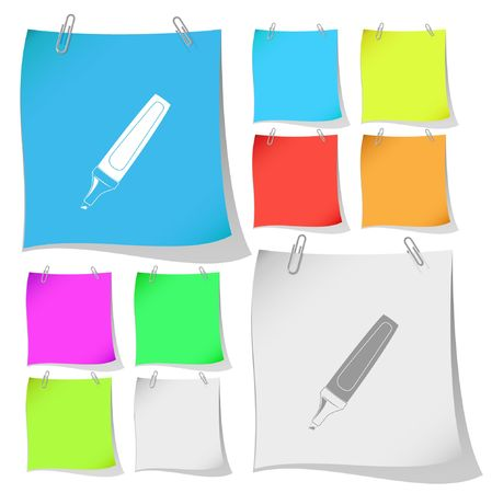 Felt pen.  note papers. Stock Vector - 6776568