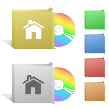 flue: Home. Box with compact disc. Illustration