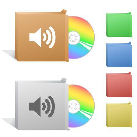 speaker box: Speaker. Box with compact disc. Illustration