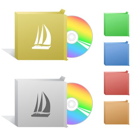 compact disc: Yacht. Box with compact disc. Illustration
