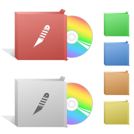 Knife. Box with compact disc. Vector